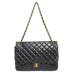 Chanel Black Quilted Leather Maxi Classic Flap Bag