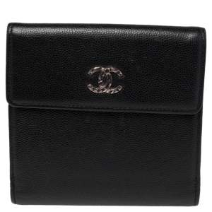 Chanel Black Leather CC Flap French Wallet