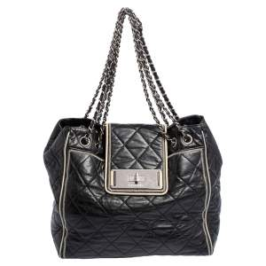 Chanel Black Quilted Leather Large East West Tote