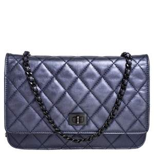 Chanel Metallic Blue Quilted Leather Reissue 2.55 Wallet On Chain
