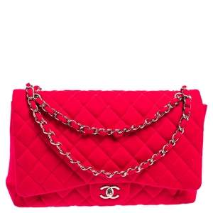 Chanel Pink Quilted Fabric Maxi Classic Single Flap Bag