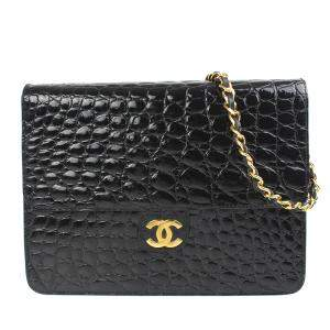 Chanel Black Exotic Skin Leather Flap Shoulder Bag
