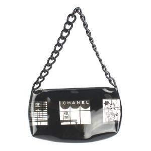Chanel Black Printed Vinyl Coco Window Pochette Bag