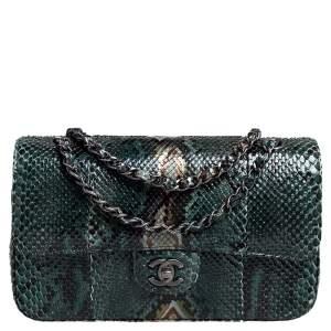 Chanel Green Python Medium Classic Double Flap Bag
