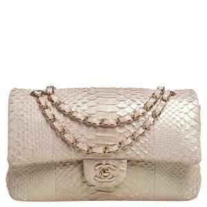 Chanel Beige Iridescent Python Medium Classic Double Flap Bag