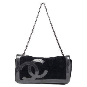 Chanel Black Fabric and Perforated PVC Trim Flap Bag