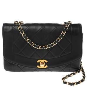 Chanel Black Quilted Leather Vintage Diana Flap Bag