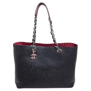 Chanel Black Perforated Caviar Leather Large Shopping Tote