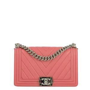 Chanel Pink Lambskin Leather Boy Flap Bag