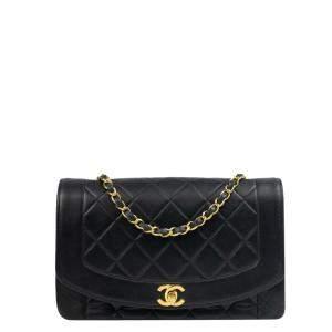 Chanel Black Lambskin Leather Diana Flap Bag