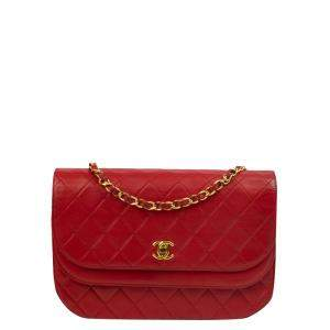 Chanel Red Lambskin Leather Vintage Diana Flap Bag