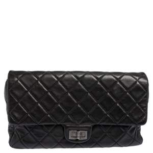 Chanel Black Quilted Leather Reissue Double Sided Flap Clutch