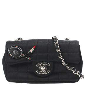 Chanel Black Quilt Fabric Square Charms Flap Bag