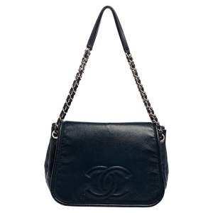 Chanel Blue Caviar Leather Timeless Accordion Flap Bag