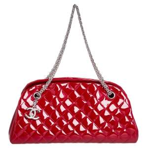 Chanel Red Quilted Patent Leather Medium Just Mademoiselle Bowling Bag