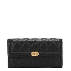 Chanel Black Lambskin Leather  Boy Continental Wallet