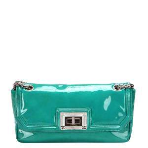 Chanel Teal Patent Leather Mademoiselle Accordion Flap Bag