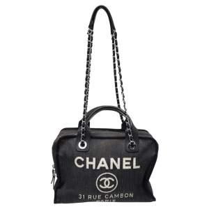 Chanel Blue Denim Deauville Bowling Bag