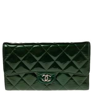 Chanel Green Quilted Patent Leather Classic L Flap Wallet