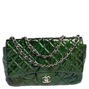 Chanel Green Quilted Patent Leather Jumbo Classic Single Flap Bag