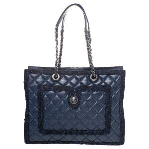 Chanel Navy Blue Aged Quilted Leather And Tweed Shopping Tote