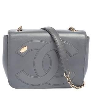 حقيبة شانيل CC مانيا بقلاب جلد رصاصي صغيرة بقلاب