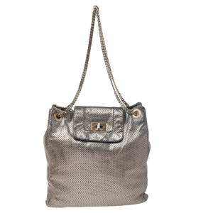 Chanel Silver Perforated Leather Large Drill Tote Bag