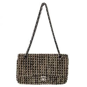 Chanel Black/Cream Quilted Tweed Medium Classic Double Flap Bag