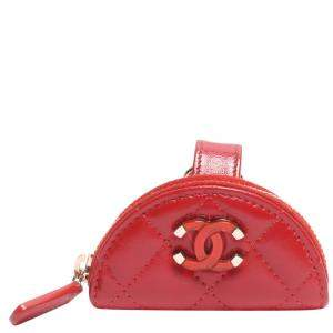 Chanel Red Quilted Leather Belt Wallet