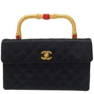 Chanel Black Leather Gold Tone Top Handle Bag