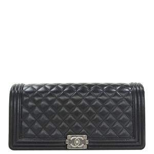 Chanel Black Quilted Leather Boy Clutch Bag
