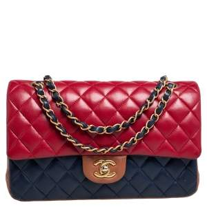 Chanel Tri Color Quilted Lambskin Leather Medium Classic Double Flap Bag