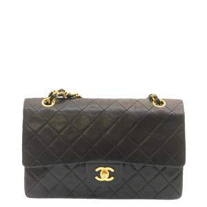 Chanel Black Lambskin Leather Classic Double Flap Bag