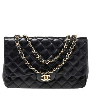 Chanel Black Quilted Lambskin Leather Jumbo Classic Single Flap Bag