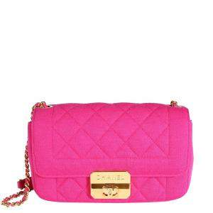 Chanel Fuchsia Quilted Jersey Mini Flap Bag