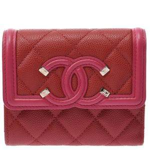 Chanel Red Leather Filigree Compact Wallet