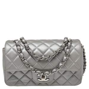 Chanel Pearl Grey Quilted Leather New Mini Classic Single Flap Bag