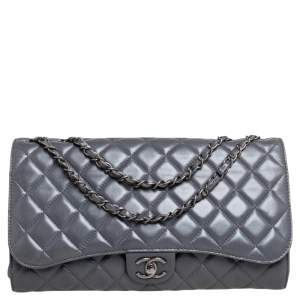 Chanel Grey Quilted Leather Grocery By Chanel Drawstring Flap Bag