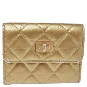 Chanel Gold Crinkled Leather Reissue Continental Wallet