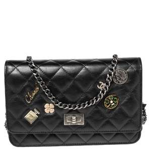 Chanel Black Aged Quilted Leather Lucky Charms 2.55 Reissue Wallet on Chain
