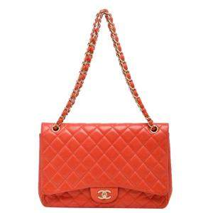 Chanel Coral Quilted Leather Jumbo Classic Flap Bag