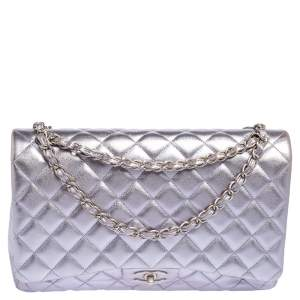 Chanel Metallic Lilac Quilted Leather Maxi Classic Double Flap Bag