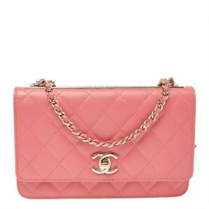 Chanel Pink Quilted Leather Trendy CC Wallet On Chain