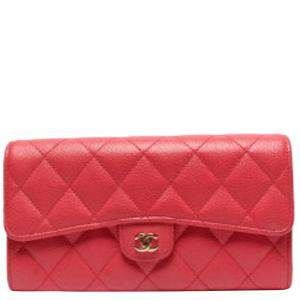 Chanel Pink Caviar Leather Quilted Wallet