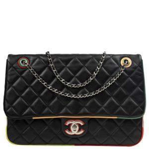 Chanel Black Lambskin Leather CC Flap Bag