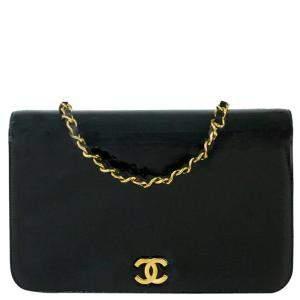 Chanel Black Patent Leather Vintage Flap Bag