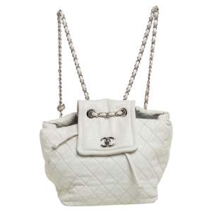 Chanel White Quilted Leather Paris-Shanghai Beijing 2 in 1 Backpack