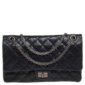 Chanel Black Quilted Caviar Leather Reissue 226 Flap Bag