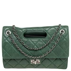 Chanel Green Quilted Leather Jumbo Takeaway Flap Bag