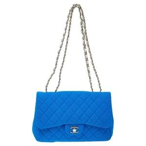 Chanel Blue Perforated Quilted Fabric Medium Classic Single Flap Bag